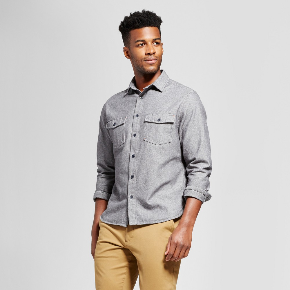 Mens Slim Fit Long Sleeve Button Down Work Shirt - Goodfellow & Co Gray Xxl