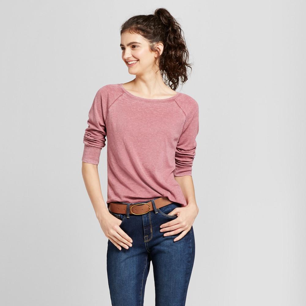 Womens Long Sleeve Raglan T-Shirt - Mossimo Supply Co. Berry (Pink) Xxl