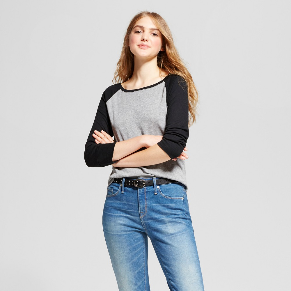 Womens Long Sleeve Raglan T-Shirt - Mossimo Supply Co. Heather Gray L