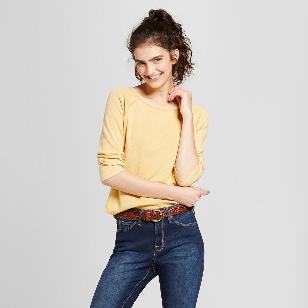 Womens Long Sleeve Raglan T-Shirt - Mossimo Supply Co. Gold S