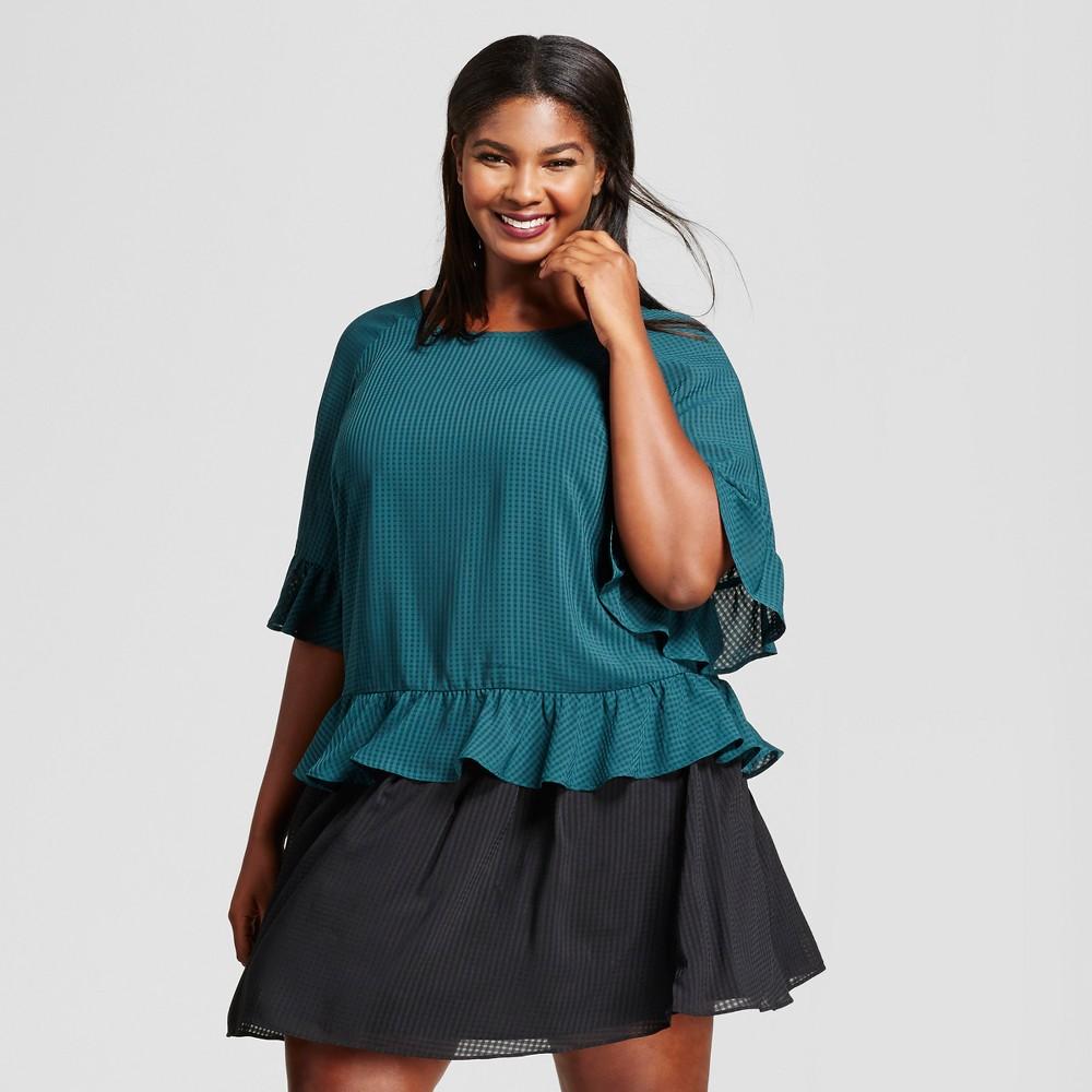 Womens Plus Size Plaid Chiffon Ruffle Blouse - A New Day Dark Green 2X