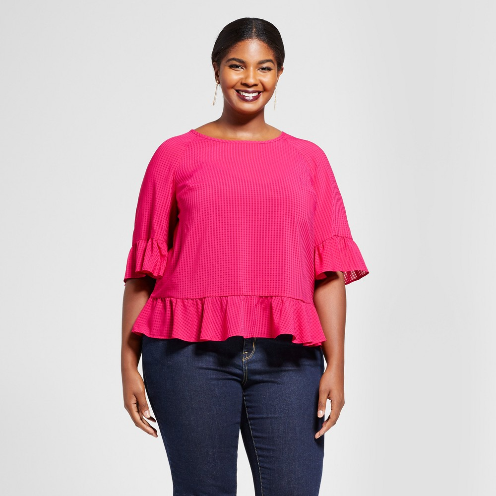 Womens Plus Size Plaid Chiffon Ruffle Blouse - A New Day Magenta (Pink) 3X