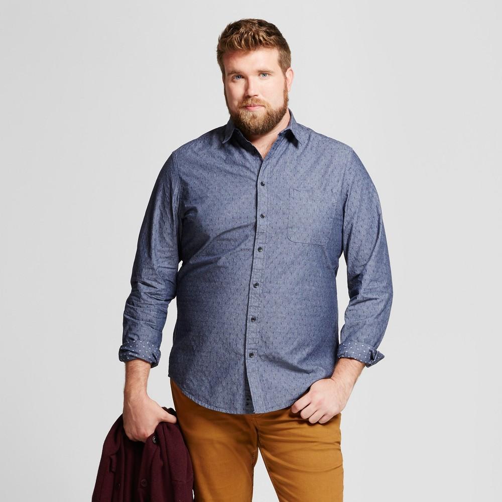 Mens Big & Tall Standard Fit Denim Shirt - Goodfellow & Co Gray/Blue Xlt