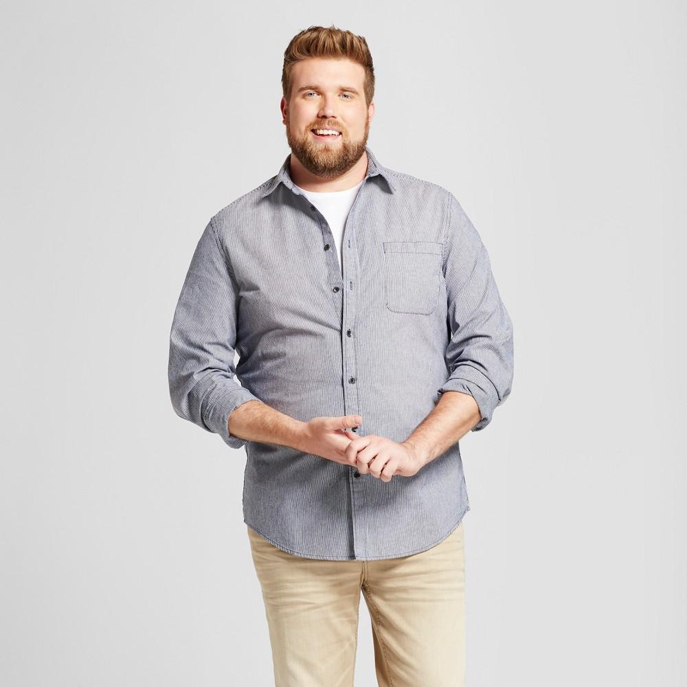 Mens Big & Tall Standard Fit Denim Shirt - Goodfellow & Co Blue Stripe LT