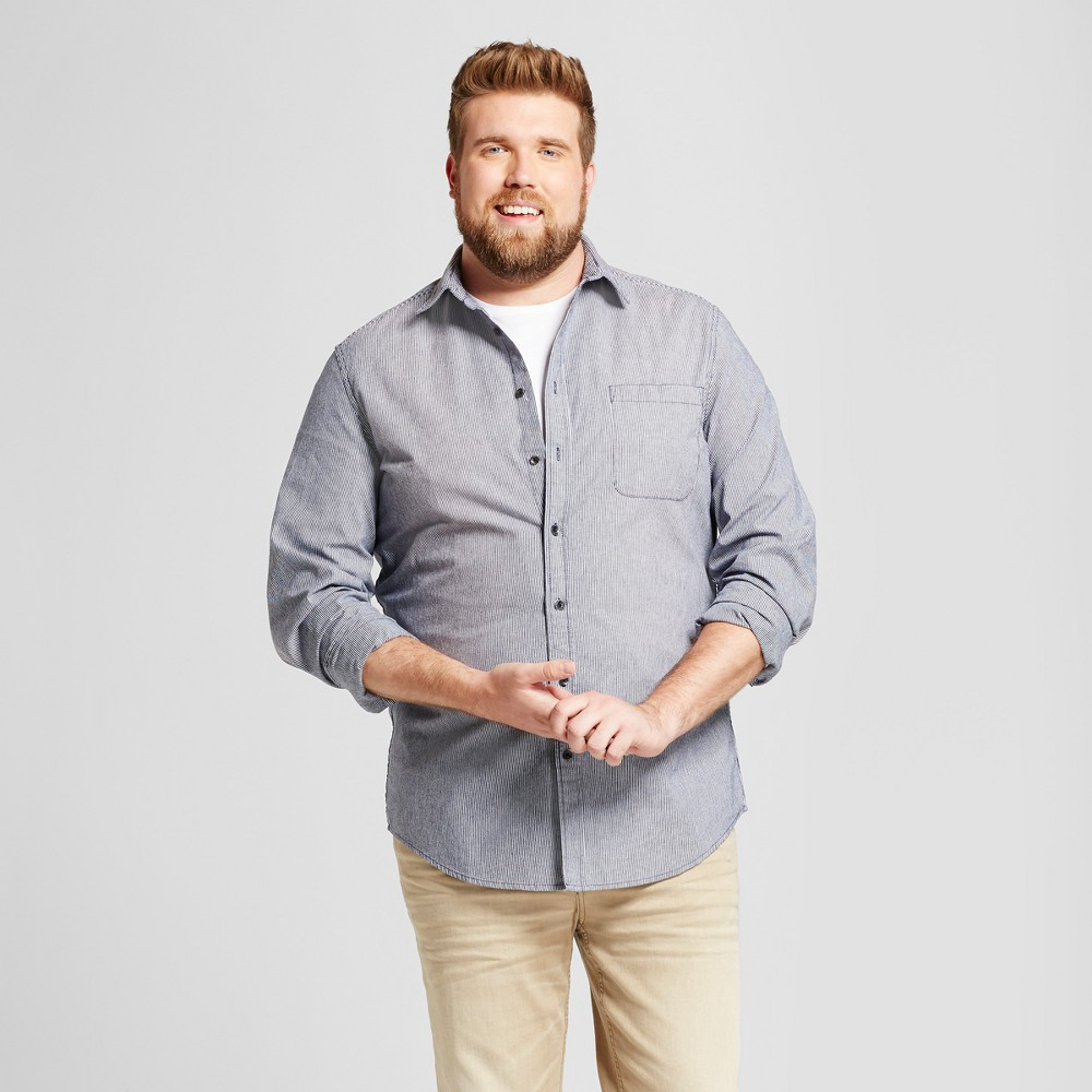 Mens Big & Tall Standard Fit Denim Shirt - Goodfellow & Co Blue Stripe 2XBT