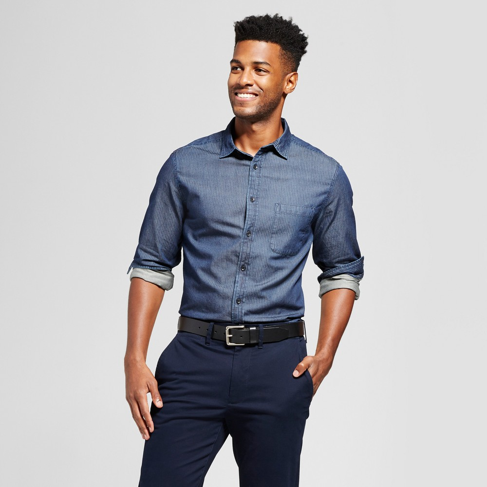 Men's Long Sleeve Denim Shirt - Goodfellow & Co Dark Wash S