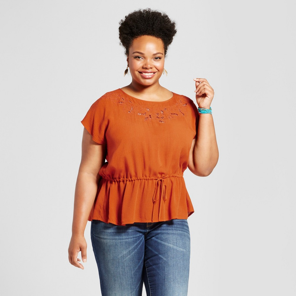 Womens Plus Size Feminine Peplum Top - Ava & Viv Orange 1X