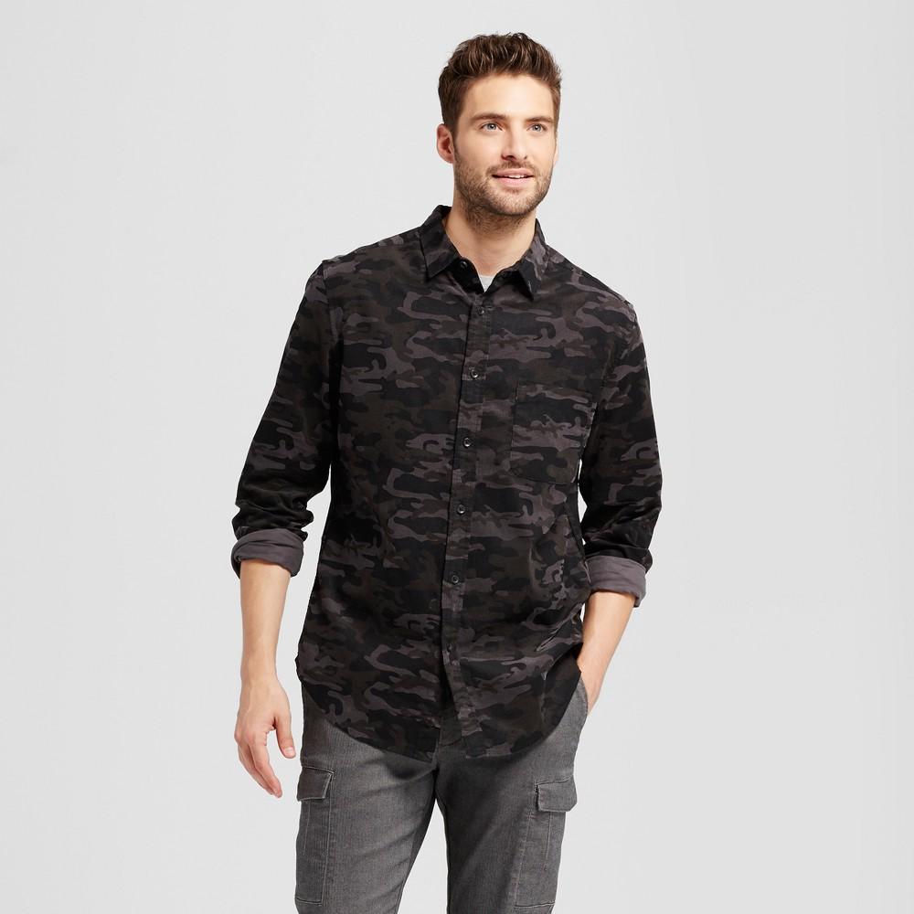 Mens Slim Fit Corduroy Long Sleeve Shirt - Goodfellow & Co Black Camo S