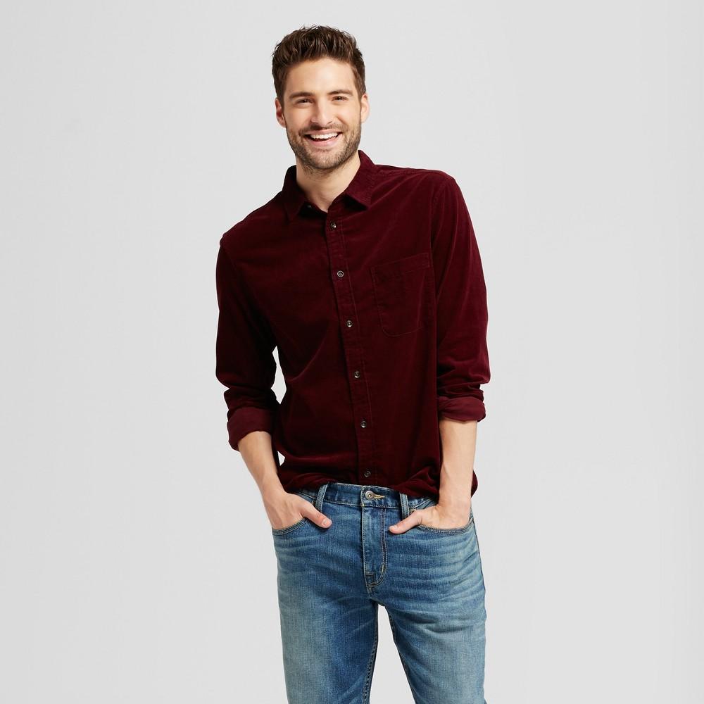 Mens Slim Fit Corduroy Long Sleeve Shirt - Goodfellow & Co Burgundy (Red) M