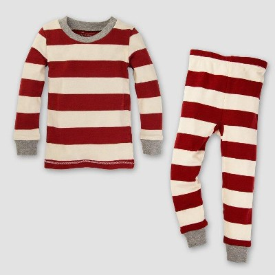 Burt's Bees Baby Toddler Organic Cotton 2pc Rugby Stripe Pajama Set - Cranberry 2T