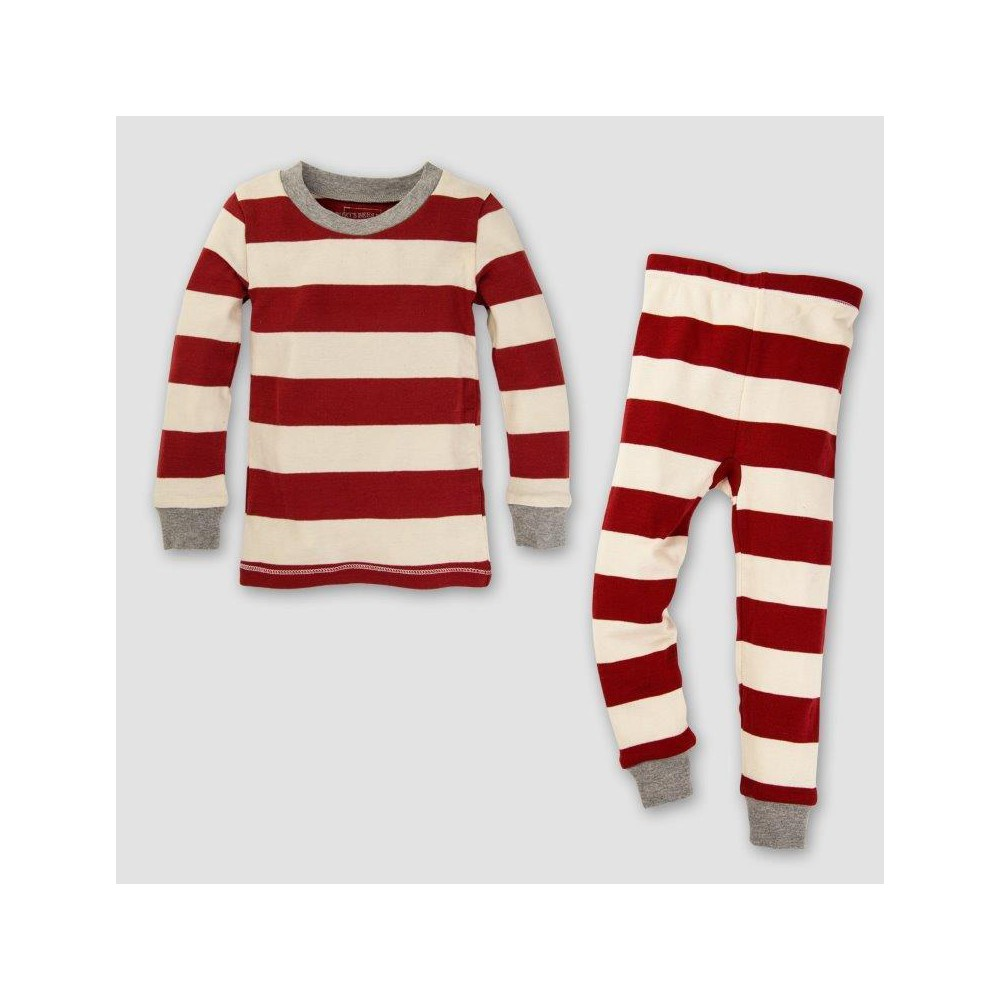 Burts Bees Baby Toddler Organic Cotton 2pc Rugby Stripe Pajama Set - Cranberry 2T, Toddler Unisex, Pink