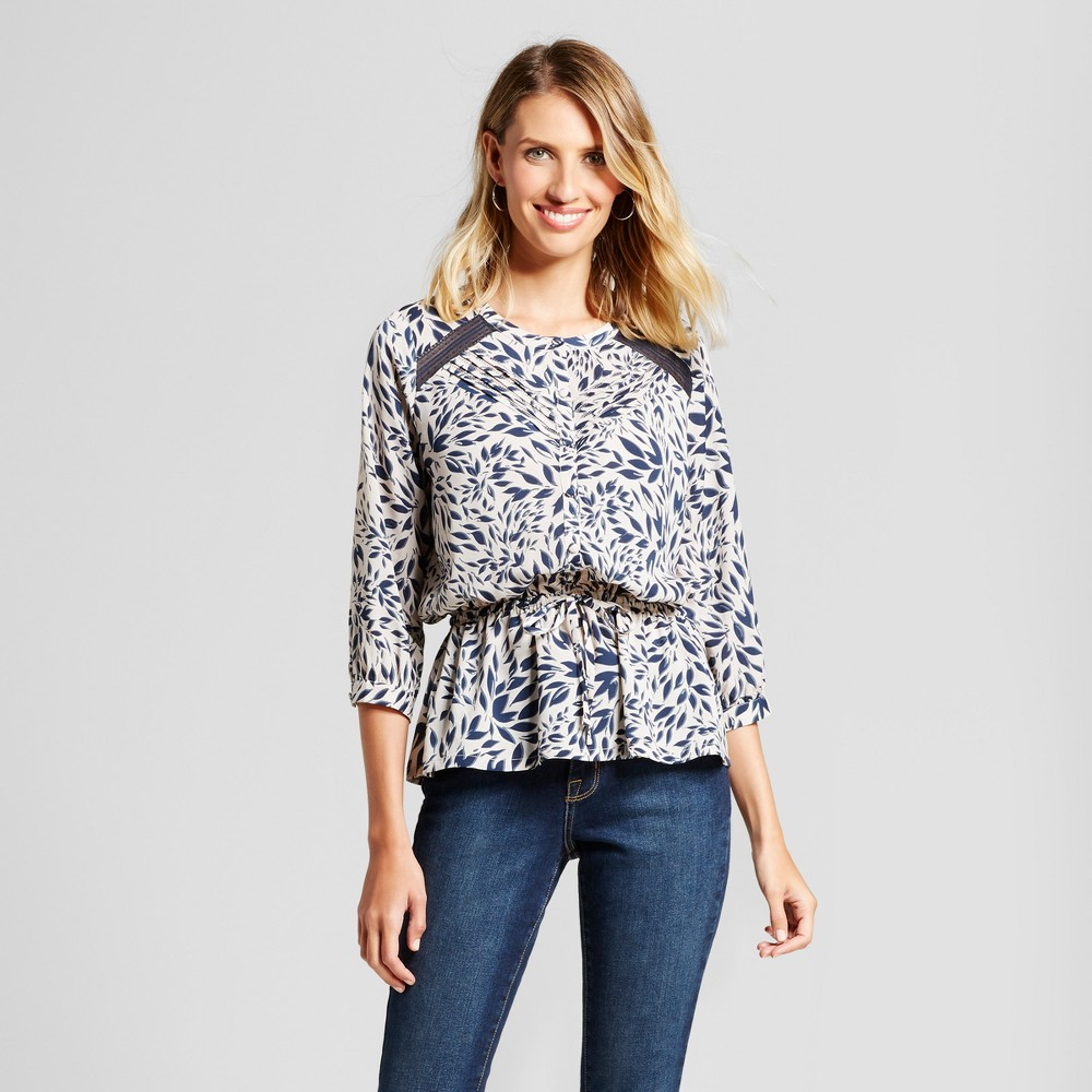 Womens Leaf Printed Blouse with Lace Inset - Isani for Target Navy/Cream XL, Blue