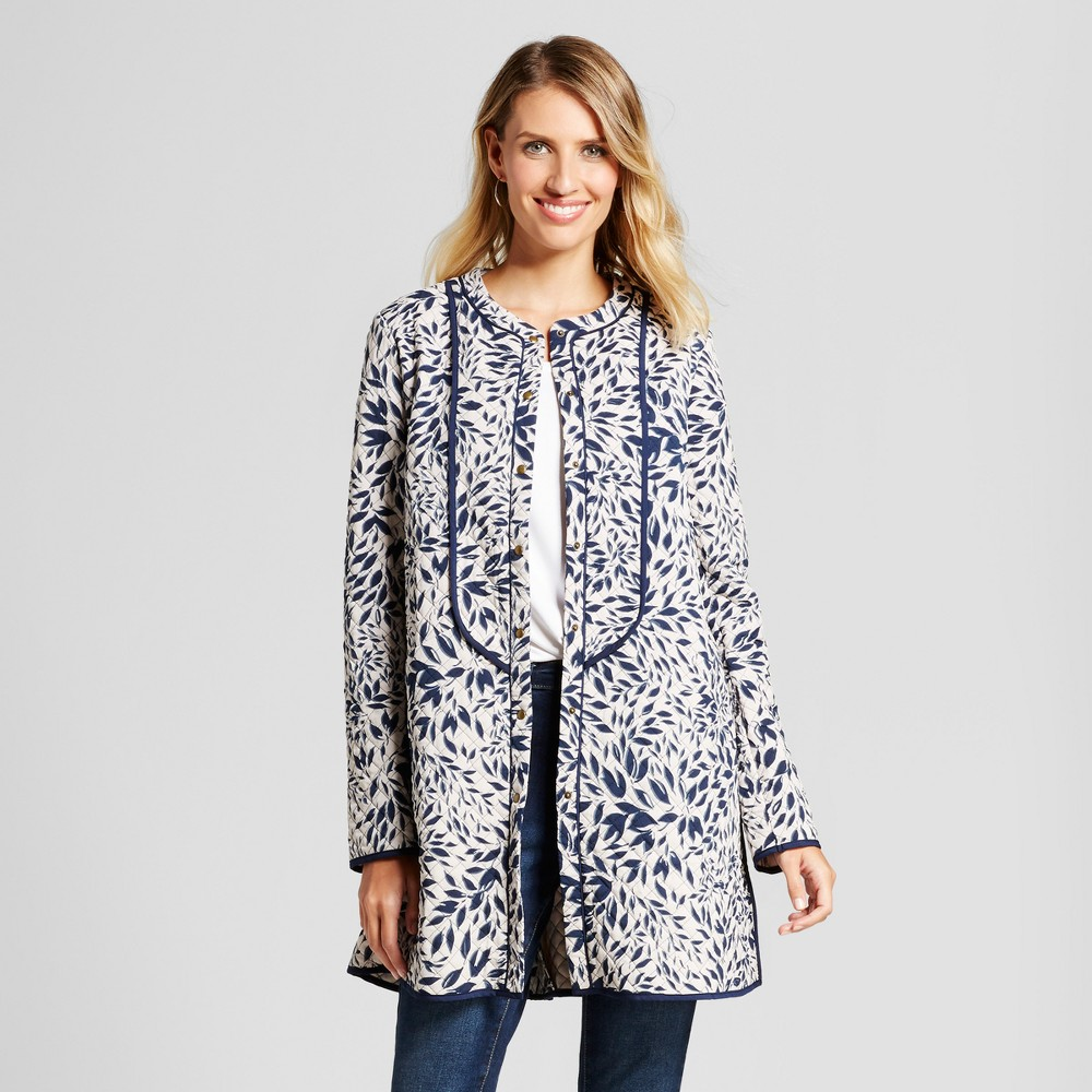 Womens Long Leaf Printed Quilted Coat - Isani for Target Navy/Cream XL, Beige
