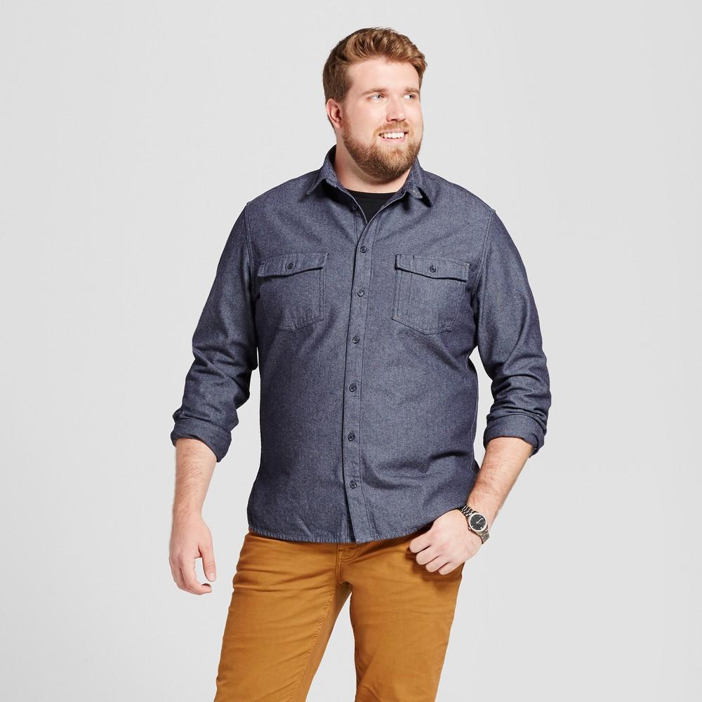 Mens Big & Tall Slim Fit Button Down Work Shirt - Goodfellow & Co Blue LT