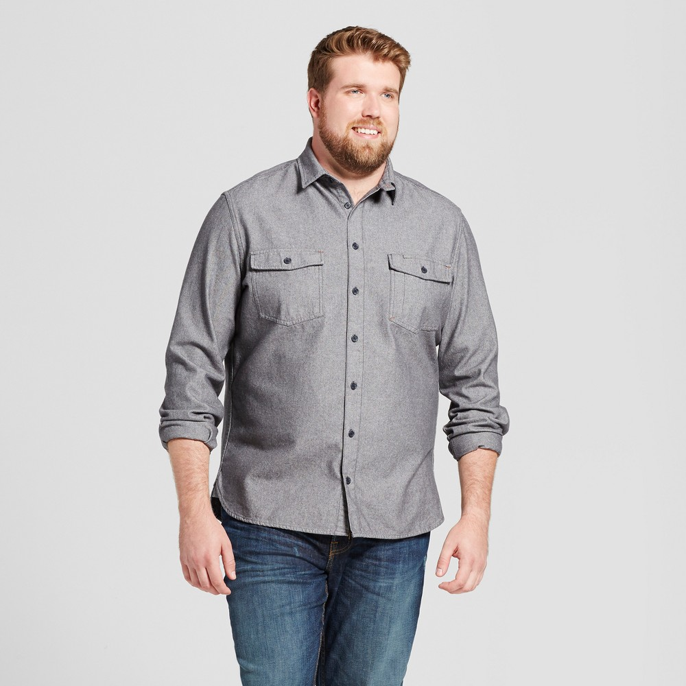 Mens Big & Tall Slim Fit Button Down Work Shirt - Goodfellow & Co Gray 2XB