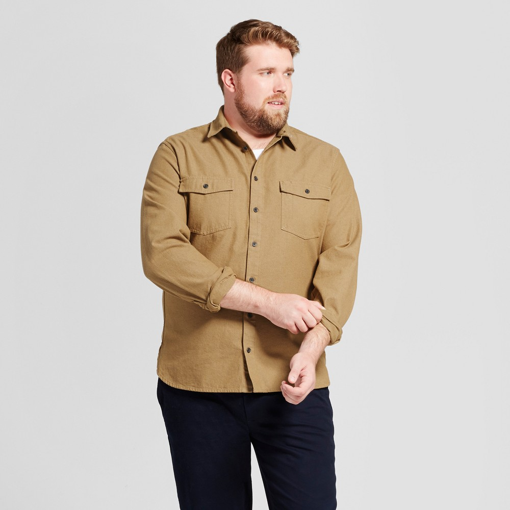 Mens Big & Tall Slim Fit Button Down Work Shirt - Goodfellow & Co Tan 3XBT