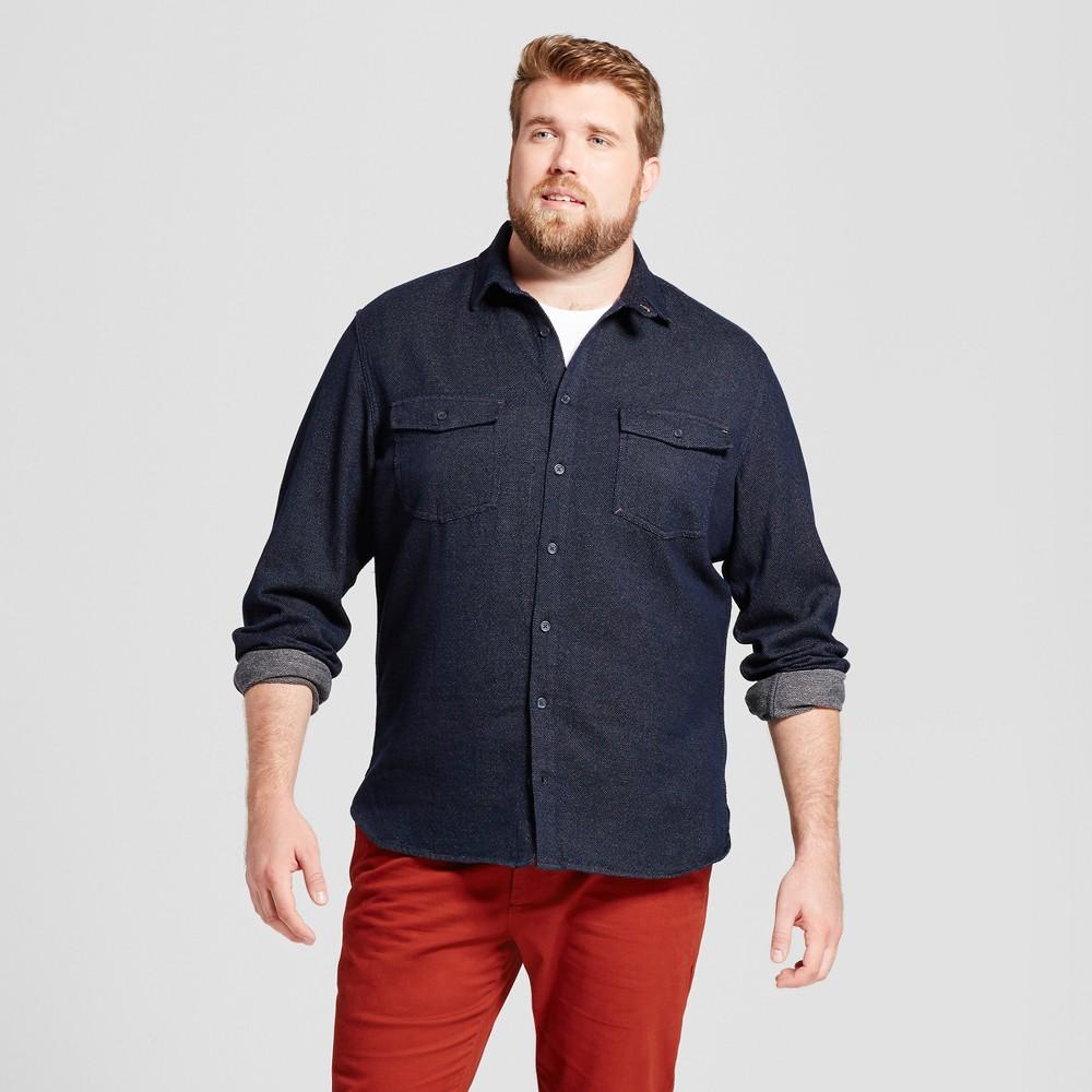 Mens Big & Tall Slim Fit Button Down Work Shirt - Goodfellow & Co Navy (Blue) LT