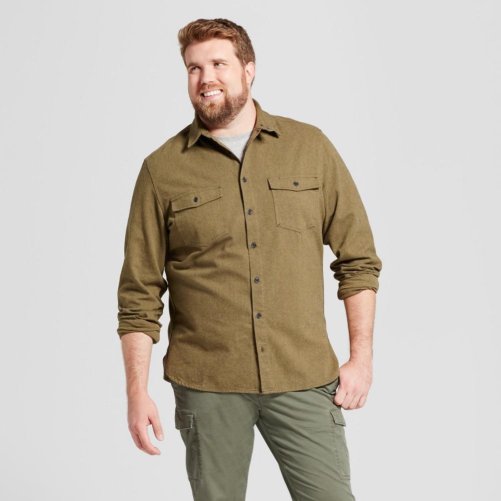 Mens Big & Tall Slim Fit Button Down Work Shirt - Goodfellow & Co Green LT