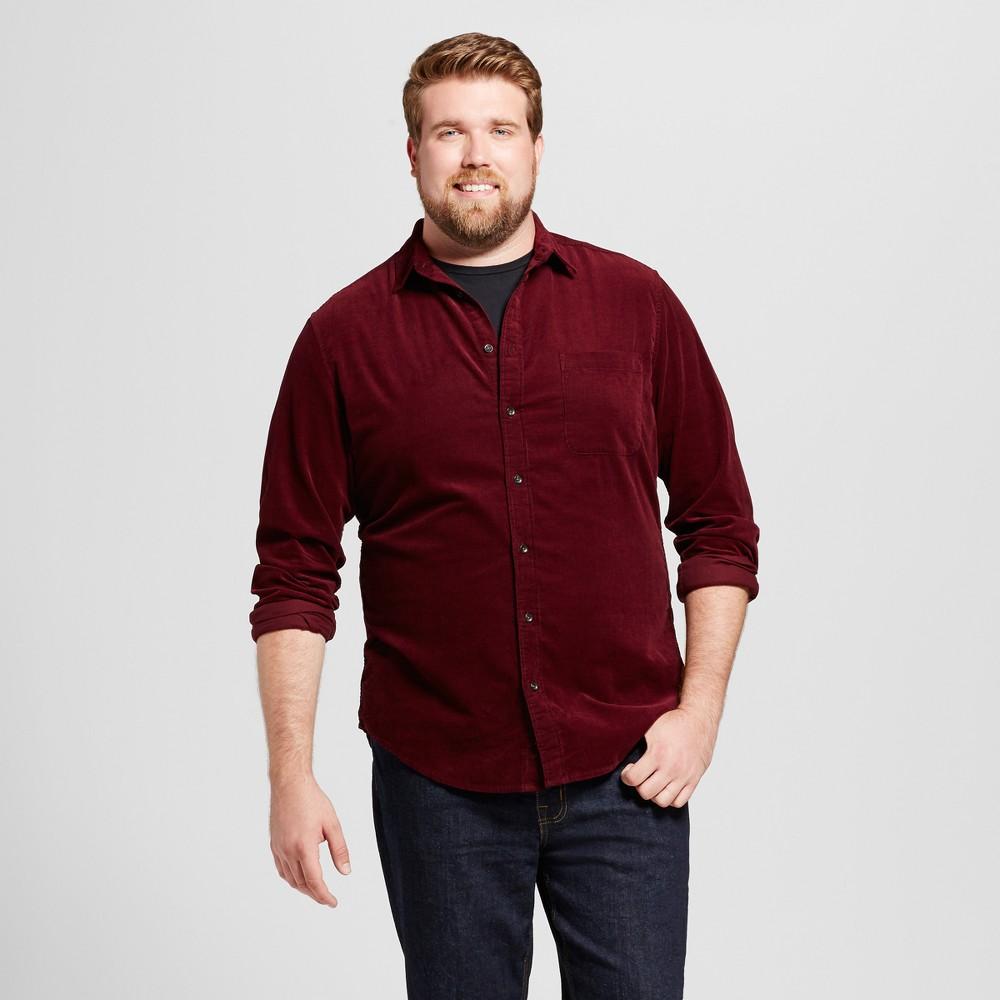 Mens Big & Tall Slim Fit Corduroy Long Sleeve Shirt - Goodfellow & Co Burgundy (Red) MT