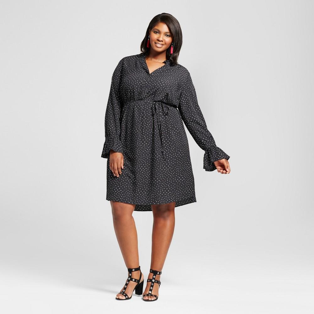 Womens Plus Size Printed Flutter Sleeve Dress - Ava & Viv Black/White 1X