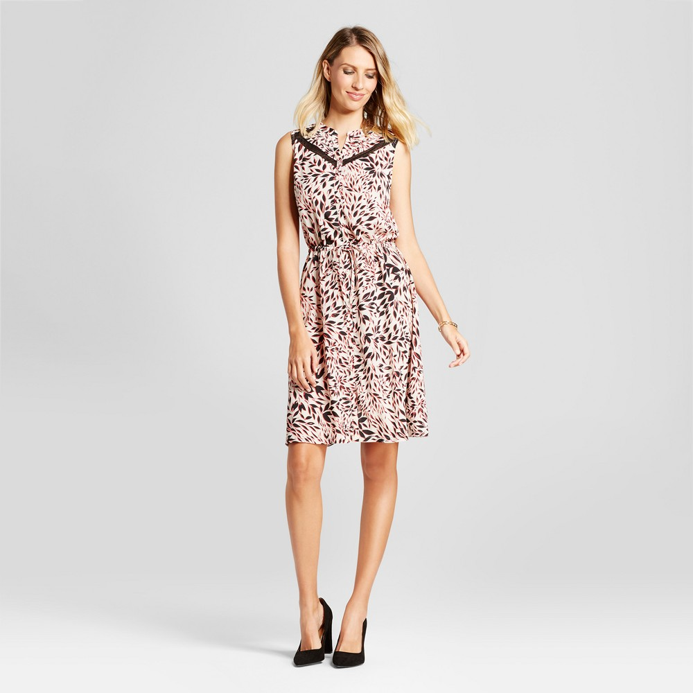 Womens Leaf Printed Tie Waist Dress with Lace Inset - Isani for Target Black/Coral/Cream M