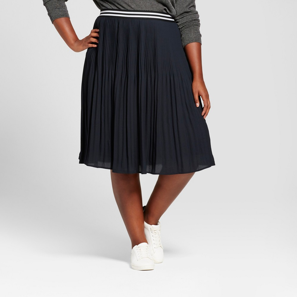 Womens Plus Size Pleated Midi Skirt - Ava & Viv Black 1X