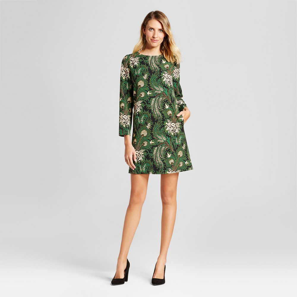 Womens Floral Paisley Printed Shift Dress - Isani for Target Black/Green XS