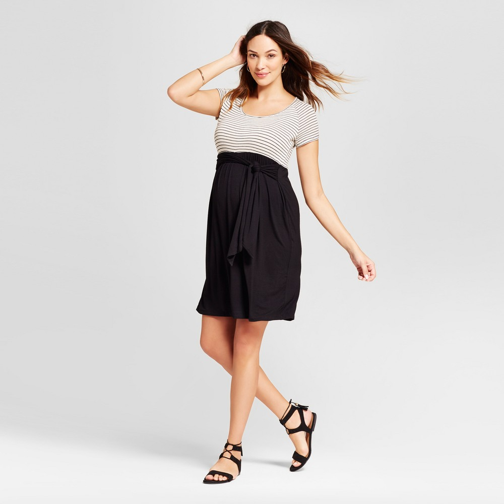 Maternity Short Sleeve Striped Dress New Oat XL - MaCherie, Womens