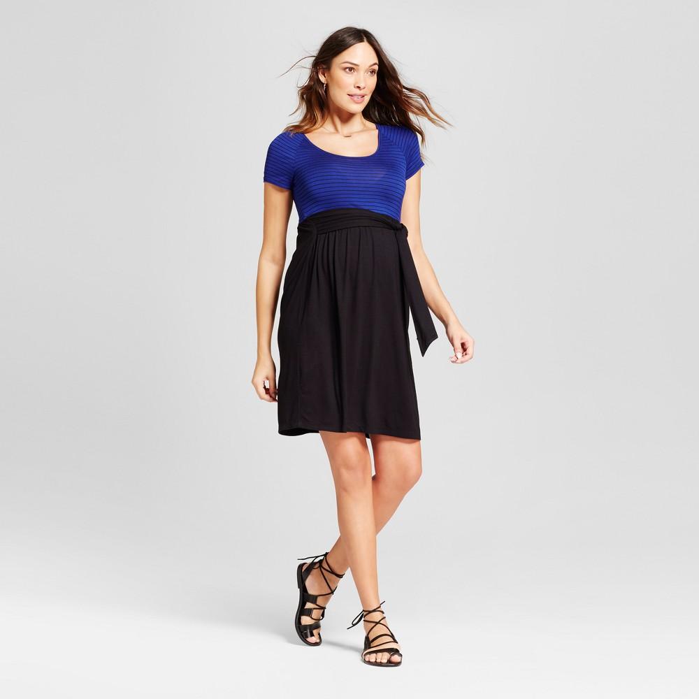 Maternity Short Sleeve Striped Dress Blue M - MaCherie, Womens