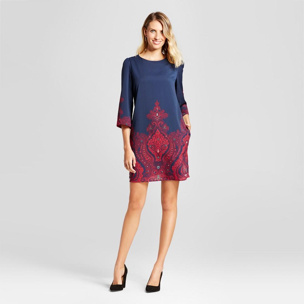 Womens Paisley Border Printed Shift Dress - Isani for Target Navy/Magenta XL, Blue