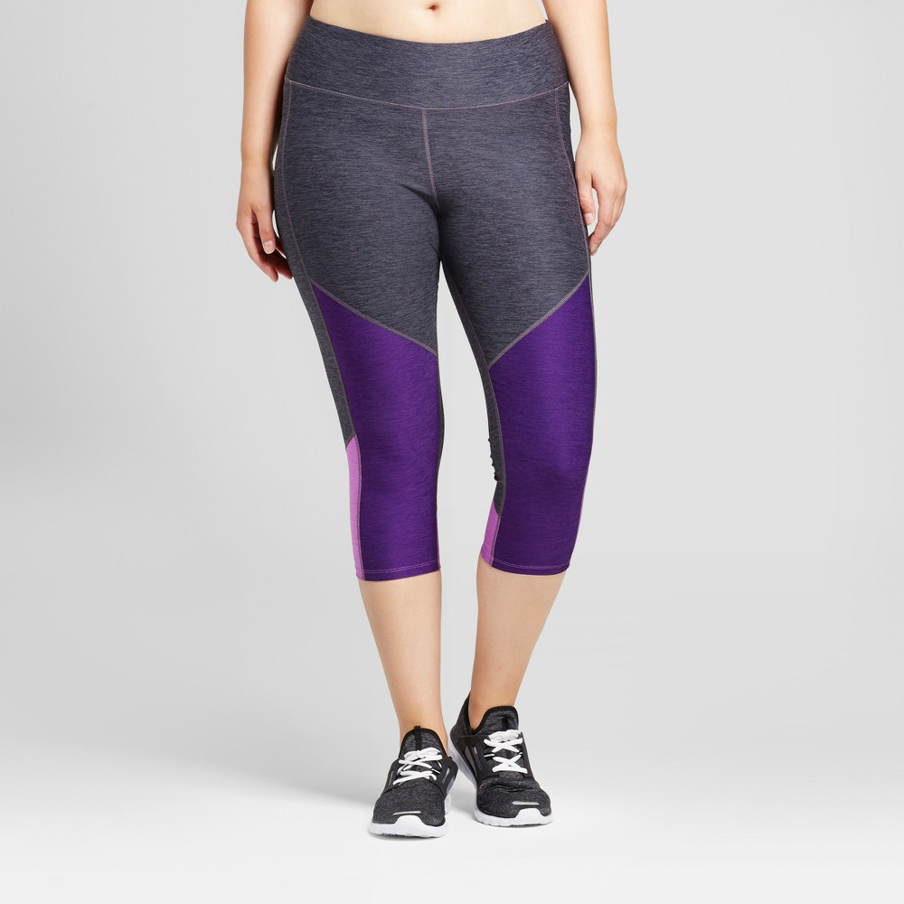 Womens Plus-Size Freedom Heather Colorblock Capri Leggings - C9 Champion Gray/Purple Heather 2X