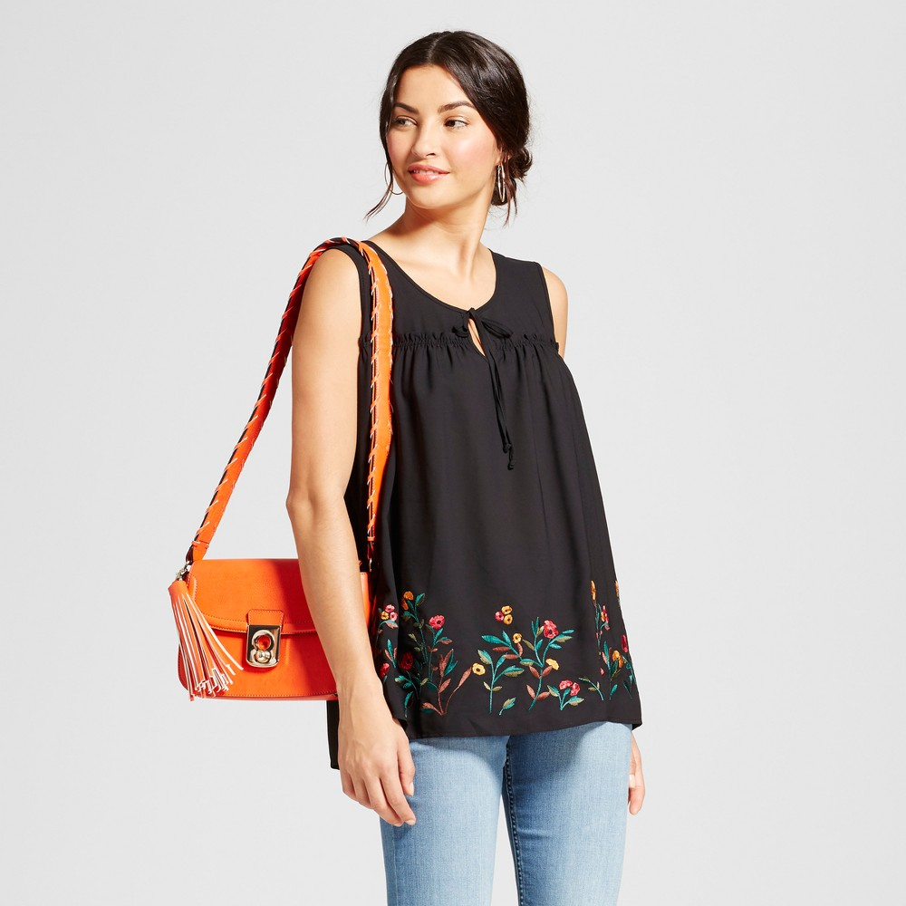 Womens Embroidered Hem Keyhole Top - Notations - Black Multi L