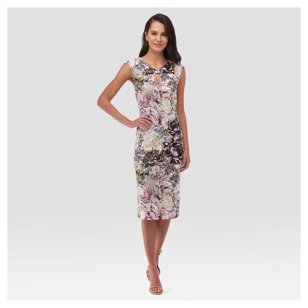 Womens Printed Midi Sheath Dress - Sami & Dani - Pink L