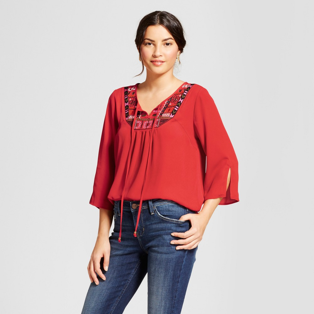 Womens 3/4 Sleeve Embroidered Bib Blouse - Notations - Pompeian Red XS