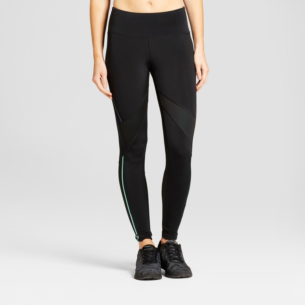 Womens Cold Weather Color Blocked Run Tight Leggings - C9 Champion Black/Breezy Green XS
