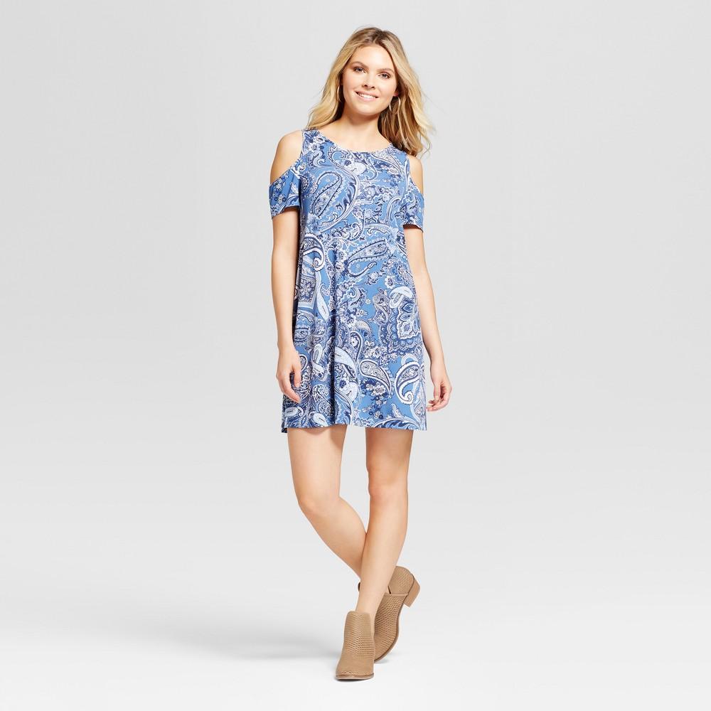 Womens Cold Shoulder Printed Swing Dress - Sami & Dani - Blue XL