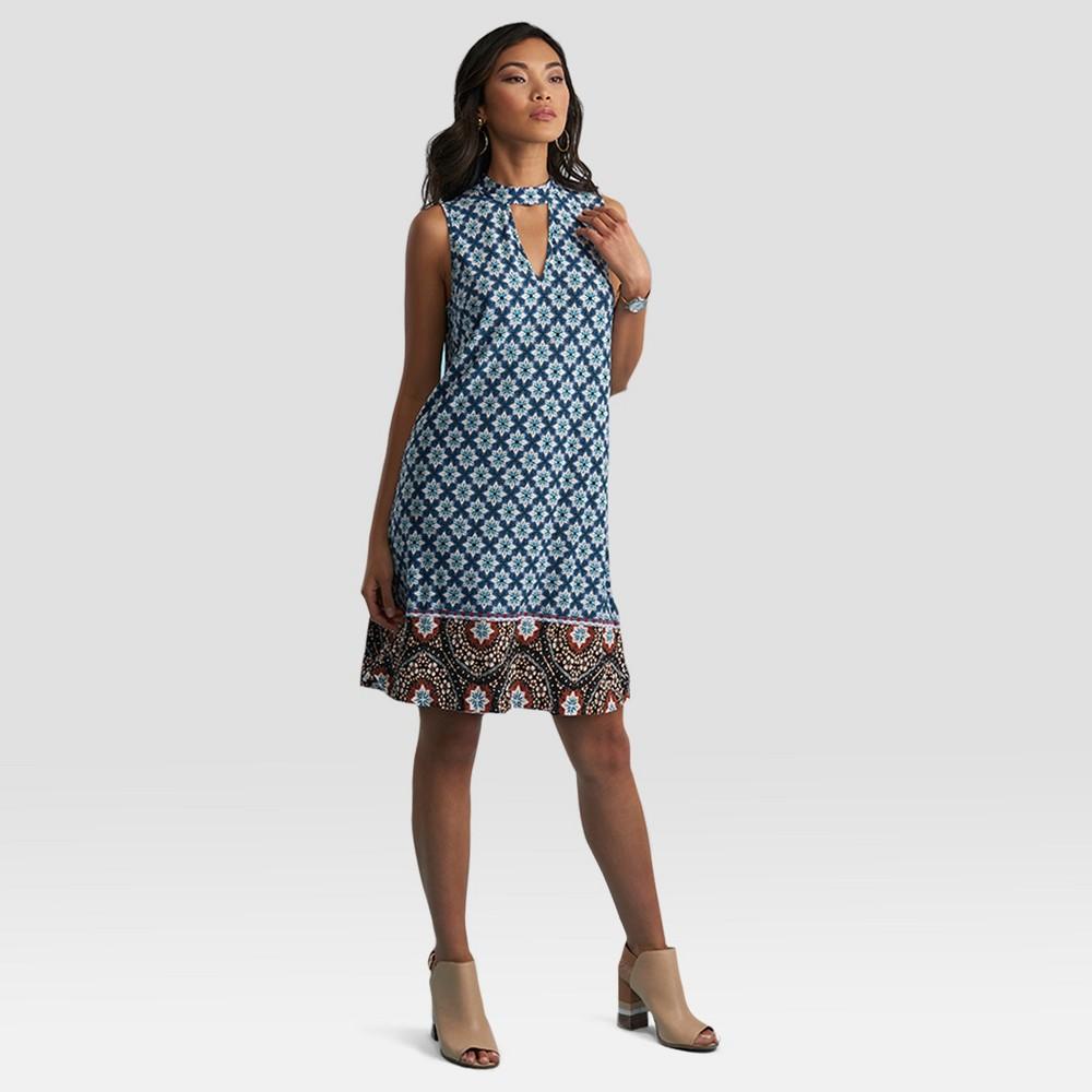 Womens Printed Halter Neck Dress - Sami & Dani - Blue/Teal S