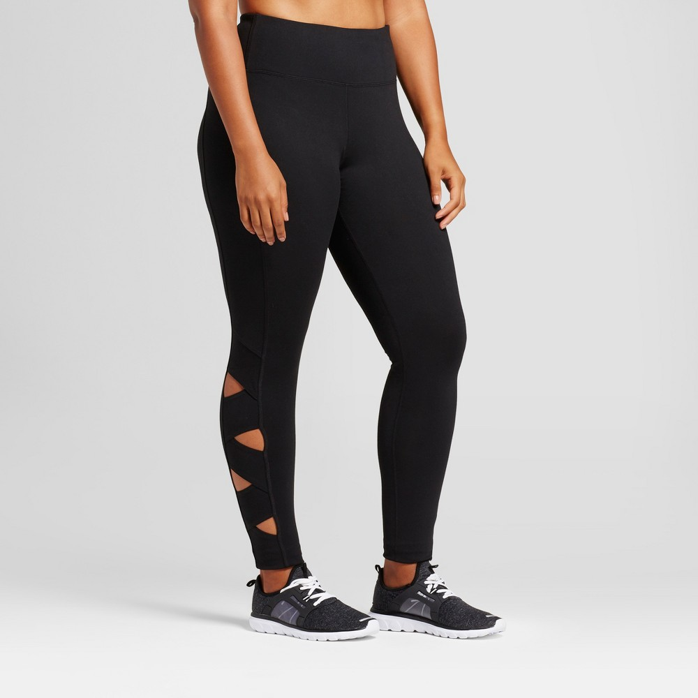 Womens Plus-Size Freedom Lattice Cutout Leggings - C9 Champion Black 1X