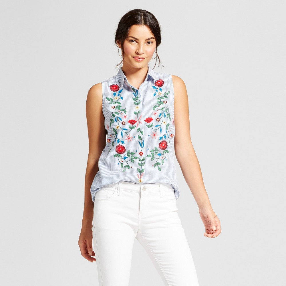 Womens Sleeveless Embroidered Button Down Blouse - Notations - Blue Multi S
