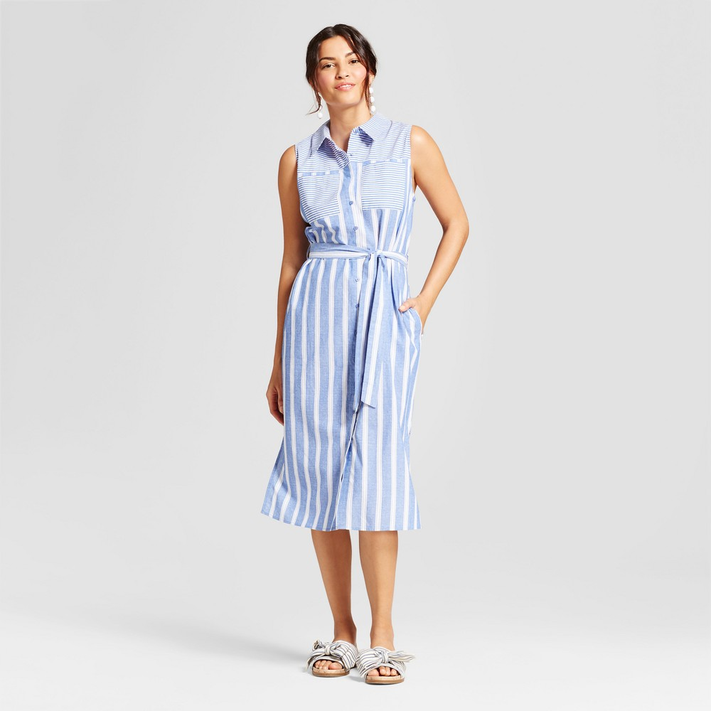 Womens Striped Button Down Shirt Dress - Notations - Navy/White L, Blue