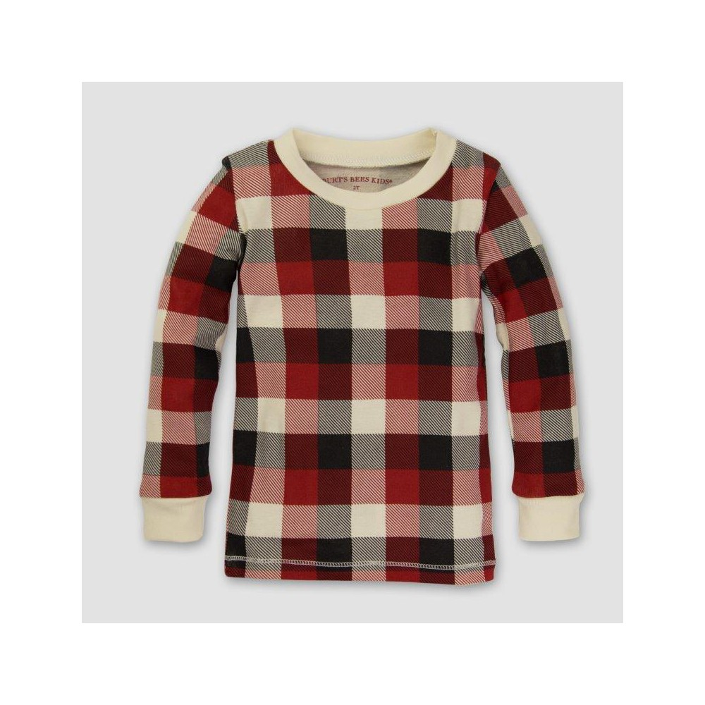 Burts Bees Baby Organic Cotton 2pc Buffalo Plaid Pajama Set - Cranberry 6-9M, Infant Unisex, Size: 6-9 M, Pink