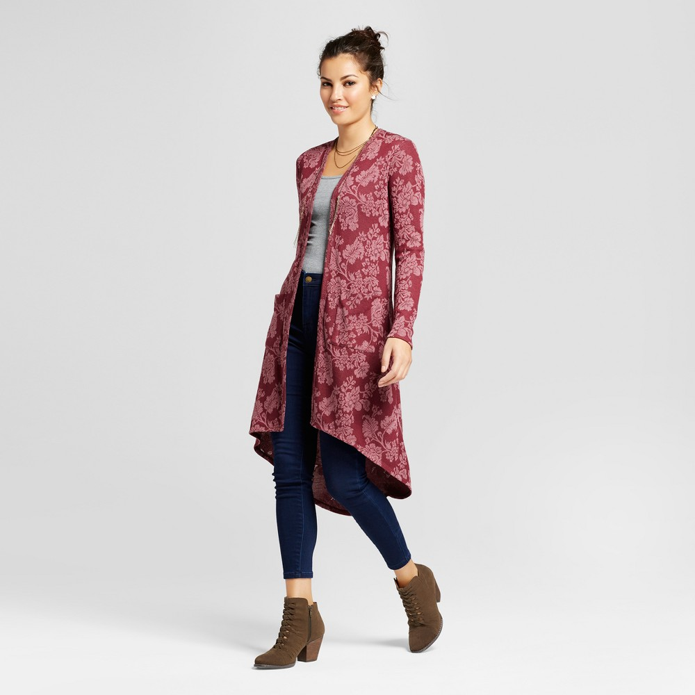 Womens Floral Jacquard Duster - Knox Rose Burgundy XL, Red