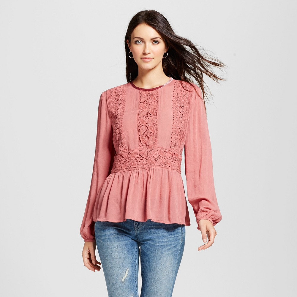 Womens Velvet Trim Peplum Top - Knox Rose Coral S, Pink