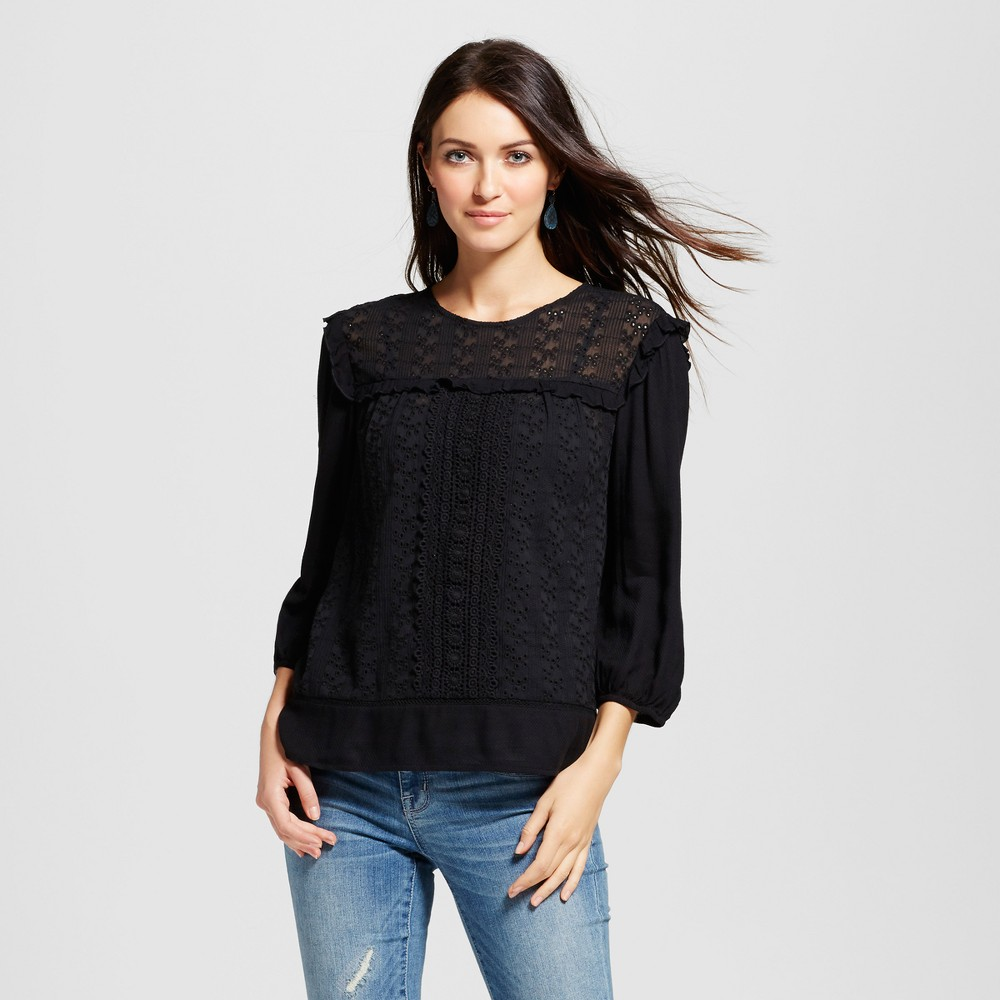 Womens Knit to Woven Eyelet Top - Knox Rose Black XL