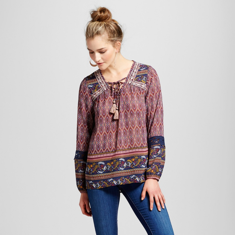 Women's Embroidered Border Print Peasant Top - Knox Rose XS, Multicolored