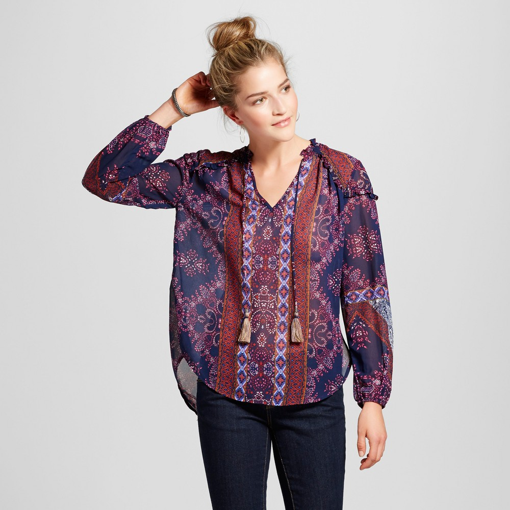 Womens Sheer Printed Ruffle Top - Knox Rose Blue/Burgundy XS, Multicolored