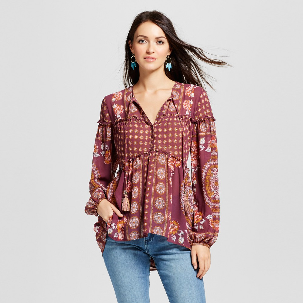 Womens Tiered Print Peasant Top - Knox Rose Burgundy XS, Multicolored
