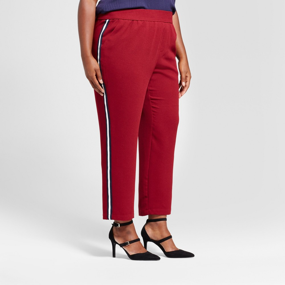 Womens Plus Size Straight Leg Track Pants - A New Day Burgundy (Red) 1X