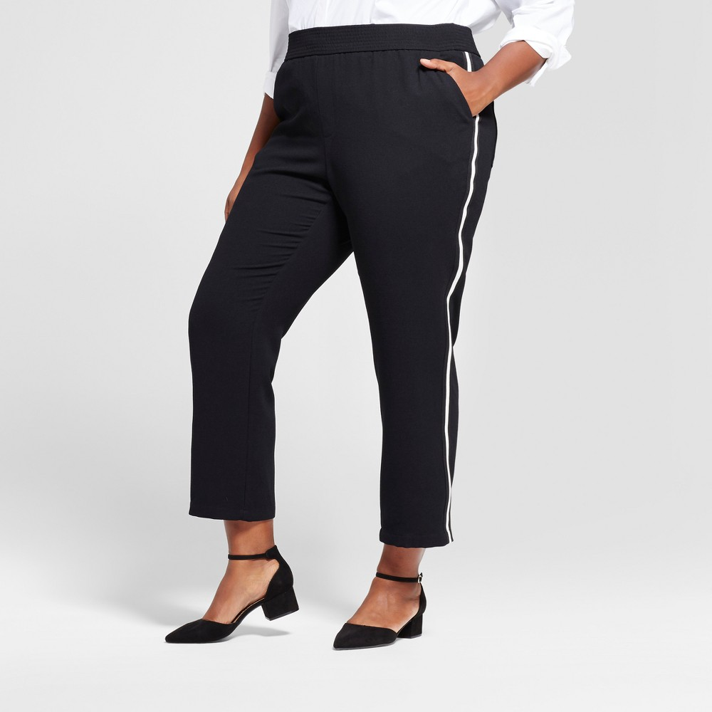 Womens Plus Size Straight Leg Track Pants - A New Day Black 2X