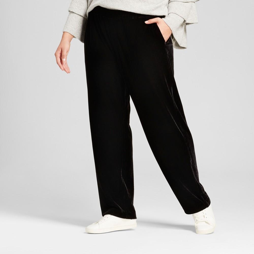 Womens Plus Size Velvet Jogger Pants - Who What Wear Black X